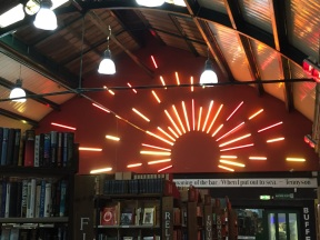 With a bit of help from the neon tubes the sun always shines on Barter Books in Alnwick